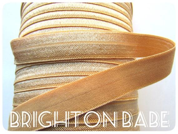 3 yds Gold FOE - Satin gold fold over elastic 5/8 - Gold soft elastic - Golden elastic hair ties - Baby headband elastic - Lingerie elastic