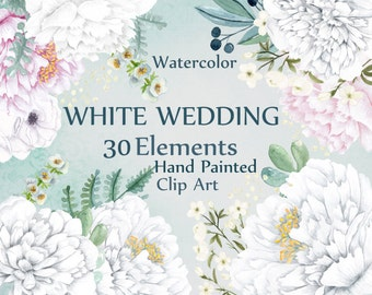 """Watercolor white flowers clipart: """"FLORAL CLIPART"""" White floral Wedding clipart Diy invites invitation clipart white peonies Peony flowers"""