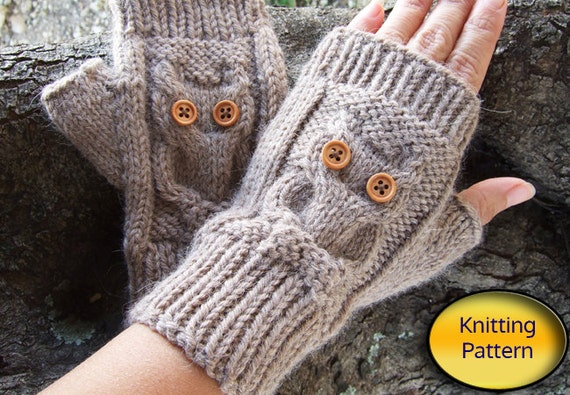 Owl Knit Fingerless Mittens Pdf Pattern Owl Cable Knit