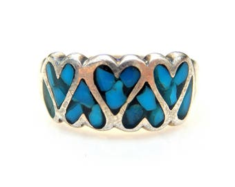 Sterling Silver Inlaid Turquoise Chip Ring