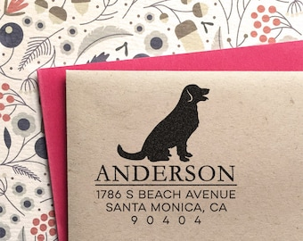 Custom Address Stamp - Golden Retriever Return Address Stamp, customized gift for holidays, housewarming and weddings, school
