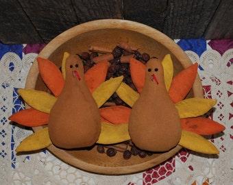 EPATTERN -- Thanksgiving Tom Turkey Tucks Primitive Bowl Fillers