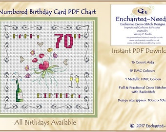 70th Birthday Card PDF Cross Stitch Chart // Cross Stitch Pattern // Instant Download // Cross Stitch PDF // Birthday Card // PDF Pattern