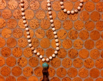 Hand Beaded and Knotted WhiteTurquoise Beaded Tassel Necklace, BOHO necklace
