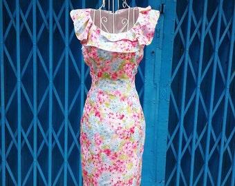 Ruffle collar vintage look pencil dress custom made all size