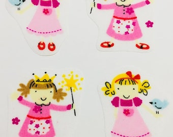 Set of 4 iron on little girls/fairies Fabric Motifs/Patches/Embellishments