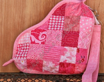 Heart Shaped Patchwork Wrist Purse or Clutch, Pink Quilted Cotton Wristlet / Cosmetics Bag