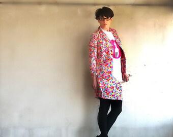 Vintage Silk Suit Ken Scott/ vintage Ken Scott jacket and Skirt/ Vintage Ken Scott floreale dress 1960