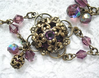 Berry Blossom Bracelet- Amethyst Purple Glass Jewel Bracelet- Antiqued Brass Filigree Bracelet- Morning Glory Designs