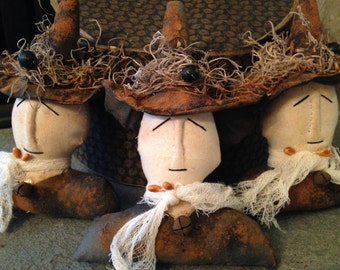 Set of 3 Handmade Halloween Wicked Witches Ornies, Tucks, Bowl Fillers and/or Ornaments