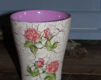 Pink flower pot etsy beautiful decoupage pink flower pot mightylinksfo