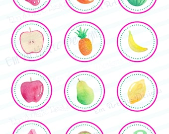 INSTANT DOWNLOAD Watercolor Fruit Cupcake toppers} Print at Home} Custom} Two-tti Frutti Theme} 24 total toppers} 2 inches in diameter