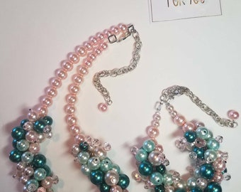 AKA Necklace, AKA Apparel, Pink & Green Cluster Necklace, Bulky Pink andf Green Necklace, AKA Accessories (w/matching bracelet and earrings)