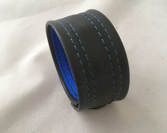 Recycled Rubber Bracelet- Bright Blue
