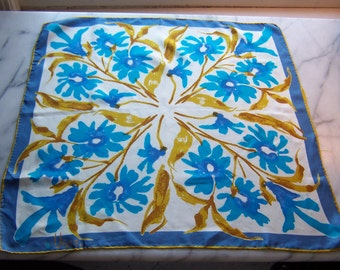 Vintage 60s Vera Silk Signature Scarf in Bright Blue Abstract Floral