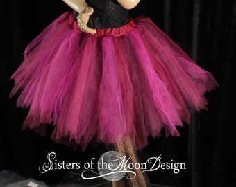 Vidia Fairy tutu tulle skirt adult streamer pixie burgundy fuchsia run race dance costume ren faire EDC Rave club - You Choose Size - SOTMD