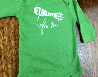 Unique Baby Gifts, Organic Baby Bodysuit, Foodie Gift, Organic Baby Gift, Future Foodie, Baby Clothing, Long Sleeve Bodysuits, Foodie Ideas