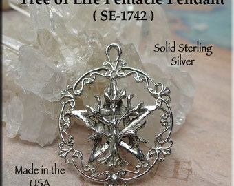 Tree of Life Pentacle Pendant, .925 Silver Tree of Life on Pentagram Necklace, Wiccan-Pagan-Druid Jewelry - SE-1742