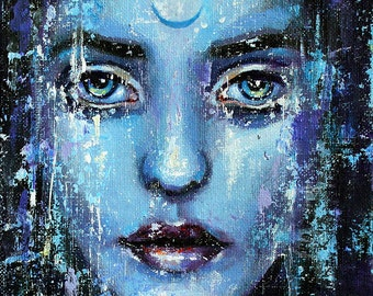 """8 x 8, Fine Art Print, """"Daughter of the Moon"""", painting by Kamille Freske, pagan art, wiccan art, fantasy art, wicca, fairy, moon priestess"""