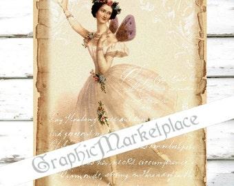 Ballet Ballerina Tutu Large Image Download Shabby Chic Transfer Fabric digital collage sheet No. 1158