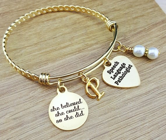 Gold Bangle Speech Language Pathologist Speech Language Pathologist Gift Graduation Gift College Graduation Graduation Gift Senior 2018