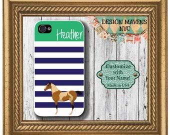 Horse iPhone Case, Personalized iPhone Case, Preppy Horse Stripe Monogram iPhone Case, iPhone 4, 4s, iPhone 5, 5s, 5c, iPhone 6, 6 Plus
