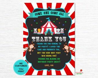 Circus Thank You Card, Carnival Thank You Card, Thank You Cards Printable, Thank You Notes, Circus Birthday, Printable File,