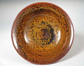 Black and Gold Oil Spot Bowl (553)