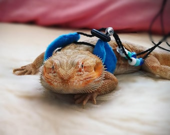 Lagoon Blue Bearded Dragon Harness Leash Lead Reptile Lizard Leopard Gecko Rat