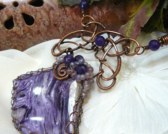 Wirewrapped Charoite Pendant ~ Celtic Knot Pendant ~ Viking Knit Necklace ~ Copper Wirewrapped Charoite ~ Purople Necklace ~ Viking Jewelry