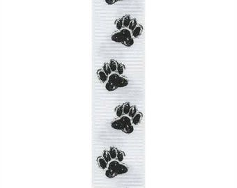 "7/8"" Dog Paw Print Ribbon - White/Black - Puppy Paw"