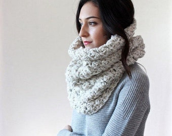 Chunky Knit Lace Cowl. Neckwarmer, Snood, circle scarf Shawl // Le Port - WHEAT