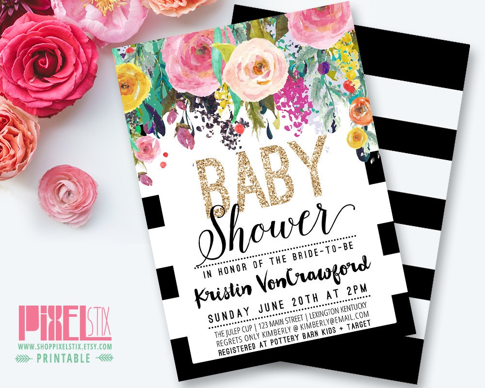 Floral Baby Shower Invitation Black and White Striped Baby