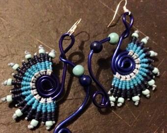 Earrings Bollywood - earrings blue macrame - dangle earrings, original, ethnic and Boho - Christmas gift