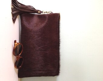Cow hair and leather clutch. cowhair evening purse, cowhair bag, brown leather clutch