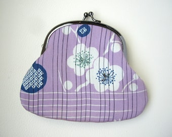 Purple Japanese purse, Metal frame purse, Purple coin purse, Kimono gamaguchi, Japanese fabric, Money wallet, Ume flower, Japanese gift