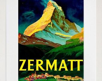 Switzerland Travel Art Print Zermatt Vintage Swiss Home Decor Poster (ZT128)