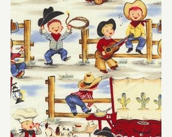 20% off thru Apr 24th LIL COWPOKES Michael Miller fabric by the 1/2 yard cowboy kids ponies horses