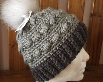 Fancy Hat crochet with fur Pompom