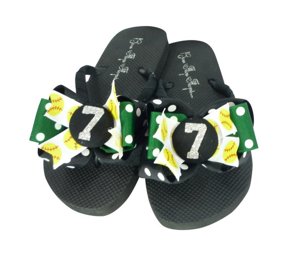 19244ef9da2d93 ... Chevron Number Design girl s gift bling own Softball Flops for sandals  your ribbon colors Bows Flip ...