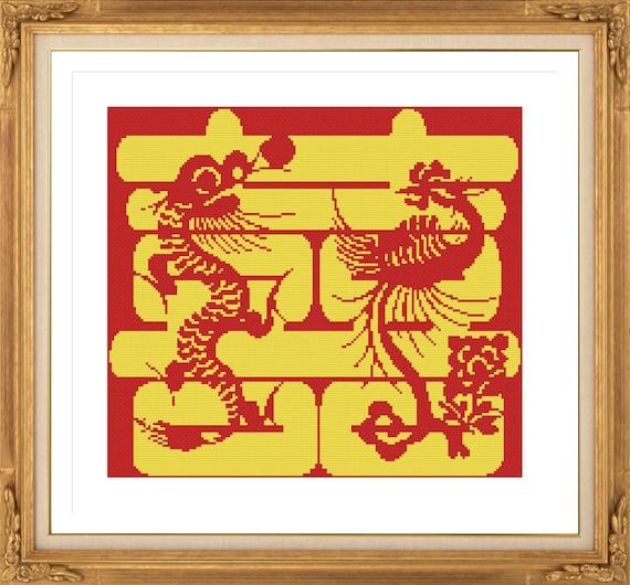 Wedding H072 Cross Stitch Pattern, Chinese Double Happiness Symbol ...