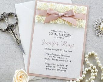 Rosette Bridal Shower Invitation - Ivory Rosette Lace with Pink Blush Ribbon - Baby Shower Invitation