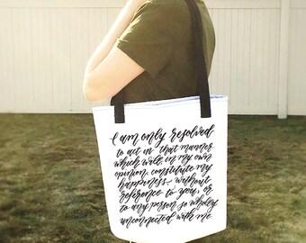 Jane Austen Tote Bag- Pride and Prejudice Quote Shoulder Bag