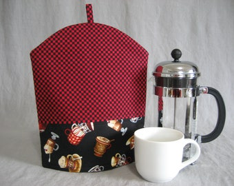 Red and Black Checkered Bistro French Press Pot Cozy