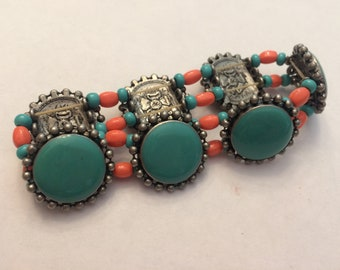 Vintage Faux Turquoise and Faux Coral Stretch Bracelet