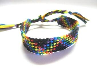 Rainbow and Black Plaid Friendship Bracelet, Rainbow Twist Bracelet, Rainbow Checkers Macrame Bracelet, Multicolor Striped Plaid Bracelet