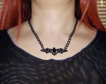 Chain with black Bat-black bat chain necklace-Goth Gothic Black Bat