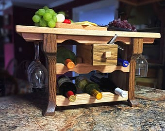 Wine Rack, Rustic with Class Hand Crafted Solid Wood Oak Free Standing Countertop Wine Rack