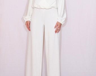 Wedding jumpsuit White long sleeve jumpsuit Bohemian clothing Women clothing Party jumpsuit