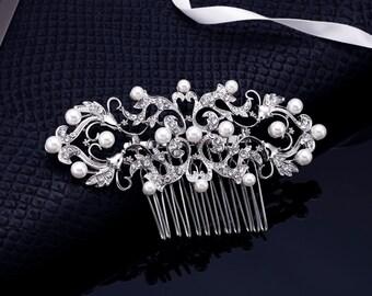 Pearl Comb, Bridal Comb, Wedding Comb, Crystal Comb, Pearl Bridal Comb, Pearl Hair Accessory, Bridesmaids Comb, Veil Comb, Wedding Hair Comb